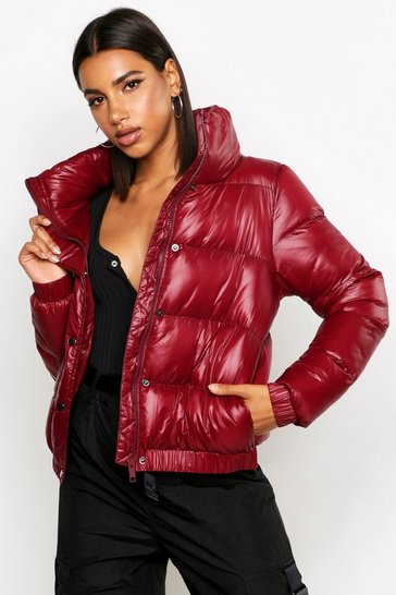 Womens Burgundy High Shine Panelled Puffer Jacket