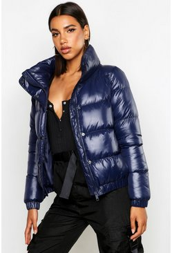 Womens Navy High Shine Panelled Puffer Jacket