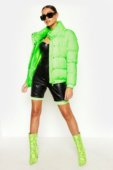 Womens Neon-green Funnel Neck Puffer Jacket