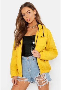 Pu Coated Double Pocket Festival Mac, Yellow, Donna