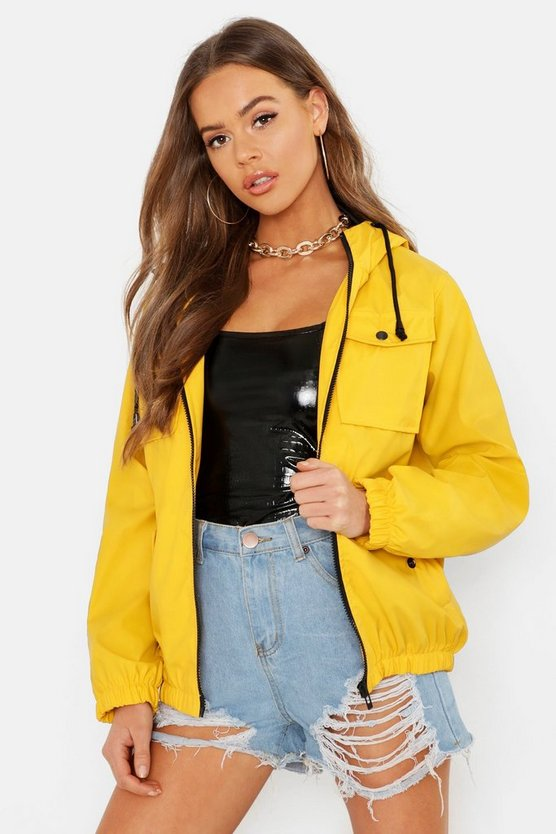 Womens Yellow Pu Coated Double Pocket Festival Mac