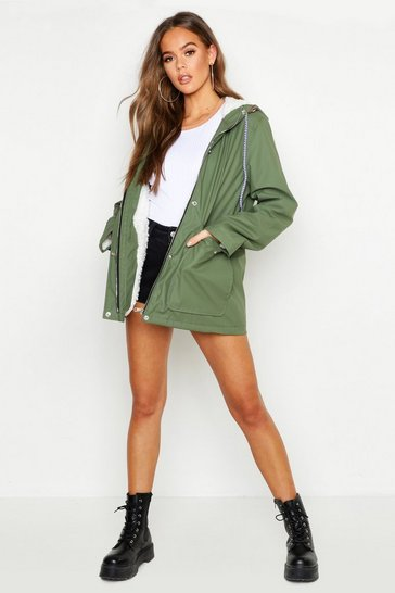 Womens Khaki Faux Fur Lined Coated Mac