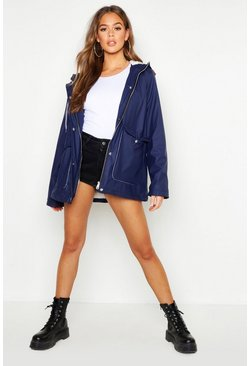 Womens Navy Faux Fur Lined Coated Mac