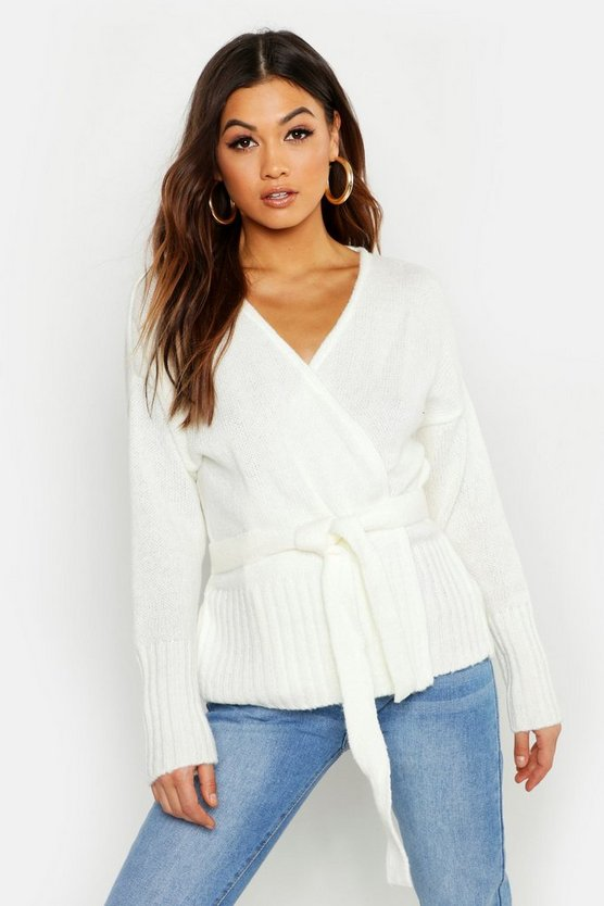 Womens Ivory Wrap Detail Cardigan
