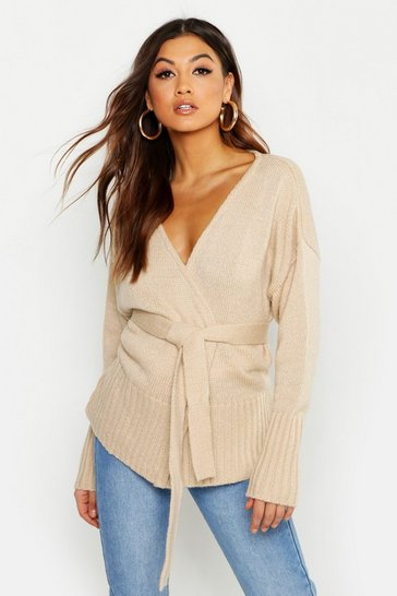 Womens Stone Wrap Detail Cardigan