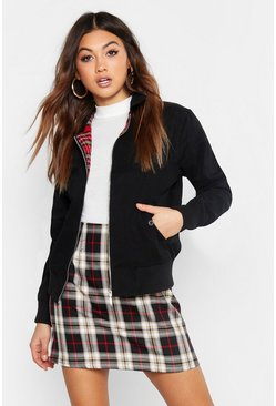Harrington Oversized Bomber Jacket, Black, Donna