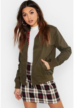 Oversized Bomberjacke im Harrington-Stil, Khaki