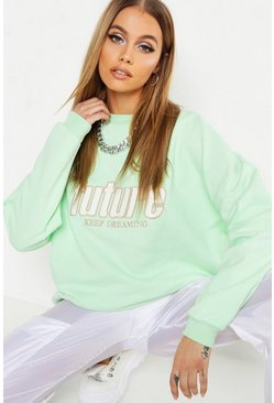 Womens Sage Independent Applique Slogan Sweat
