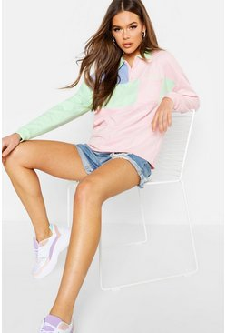 Womens Pink Colour Block Oversized Rugby Top