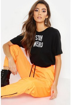 "T-Shirt mit ""Stay Weird""-Slogan, Schwarz, Damen"