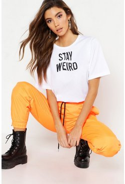 Womens Black Stay Weird Slogan T-Shirt