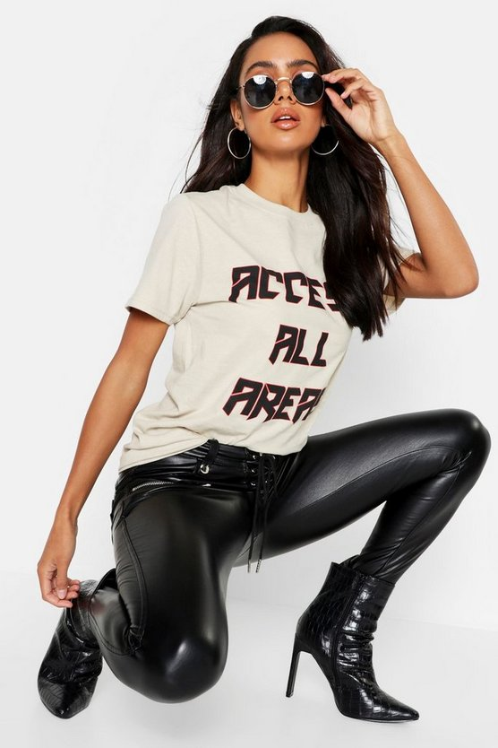 Womens Nude Oversized Slogan Band T-Shirt