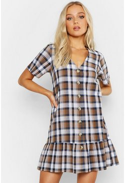 Womens Brown Smock Check Button Detail Dress