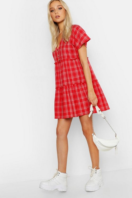 Womens Red V Neck Button Front Check Smock Dress