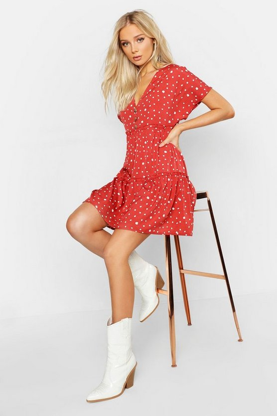 Spot Button Front Tiered Smock Dress