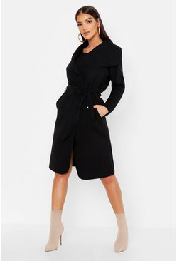 Belted Shawl Collar Coat, Black, Donna