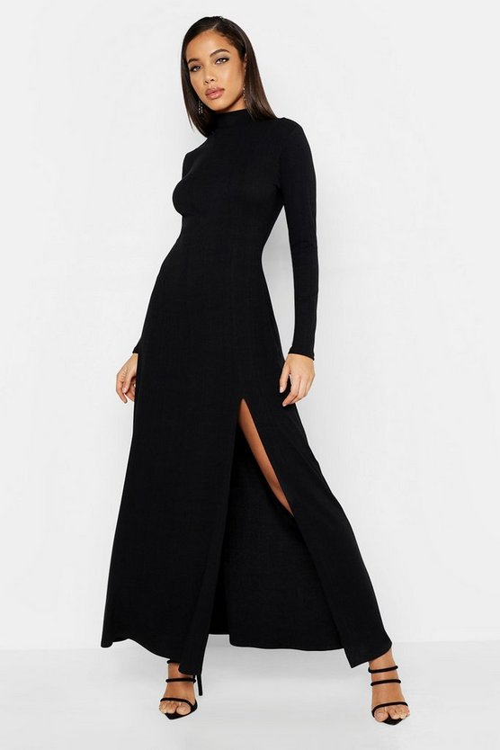 Womens Black Rib High Neck Long Sleeve Split Maxi Dress