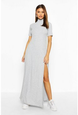 Womens Grey marl Rib High Neck Short Sleeve Split Maxi Dress