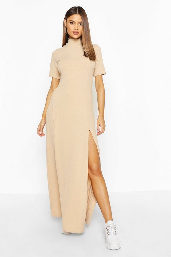 Womens Stone Rib High Neck Long Sleeve Split Maxi Dress