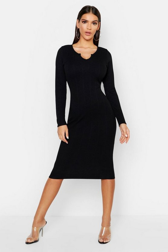 Womens Black Rib Notch Front Long Sleeve Midi Dress