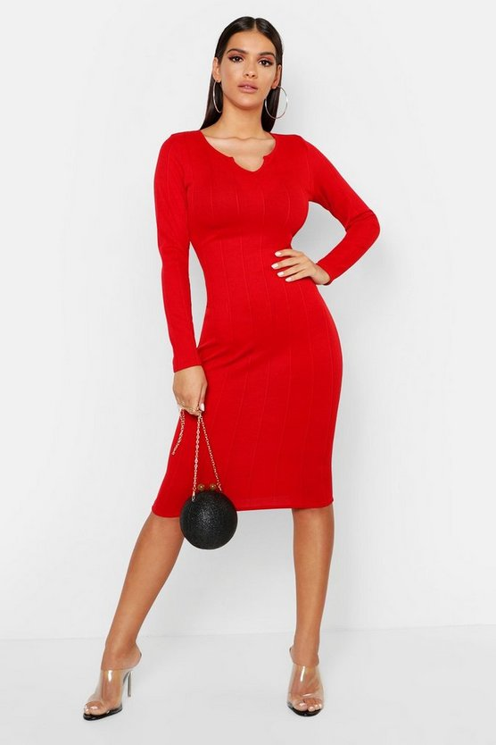 Womens Red Rib Notch Front Long Sleeve Midi Dress