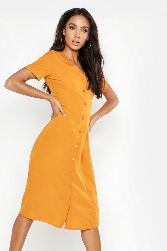 Womens Mustard Button Through Midi Tea Dress