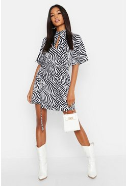 Womens Black Zebra Print High Neck Skater Dress