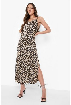 Womens Black Woven Leopard Maxi Slip Dress