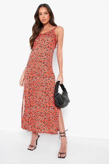 Red Woven Leopard Maxi Slip Dress