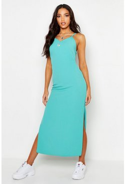 Womens Green Woven Maxi Slip Dress