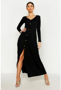 Black Knitted Button Detail Maxi Dress