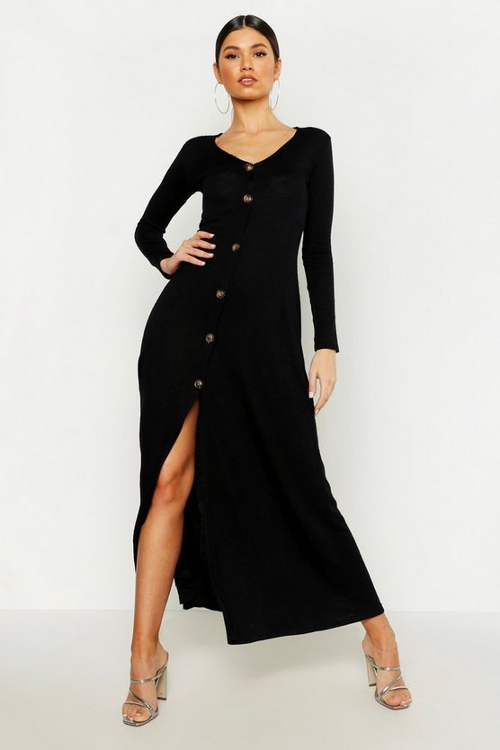 Womens Black Knitted Button Detail Maxi Dress