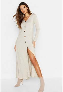 Womens Oatmeal Knitted Button Detail Maxi Dress