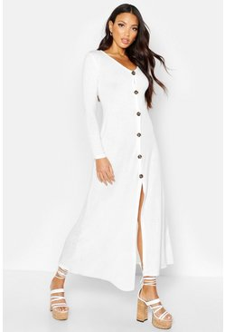 Womens White Knitted Button Detail Maxi Dress