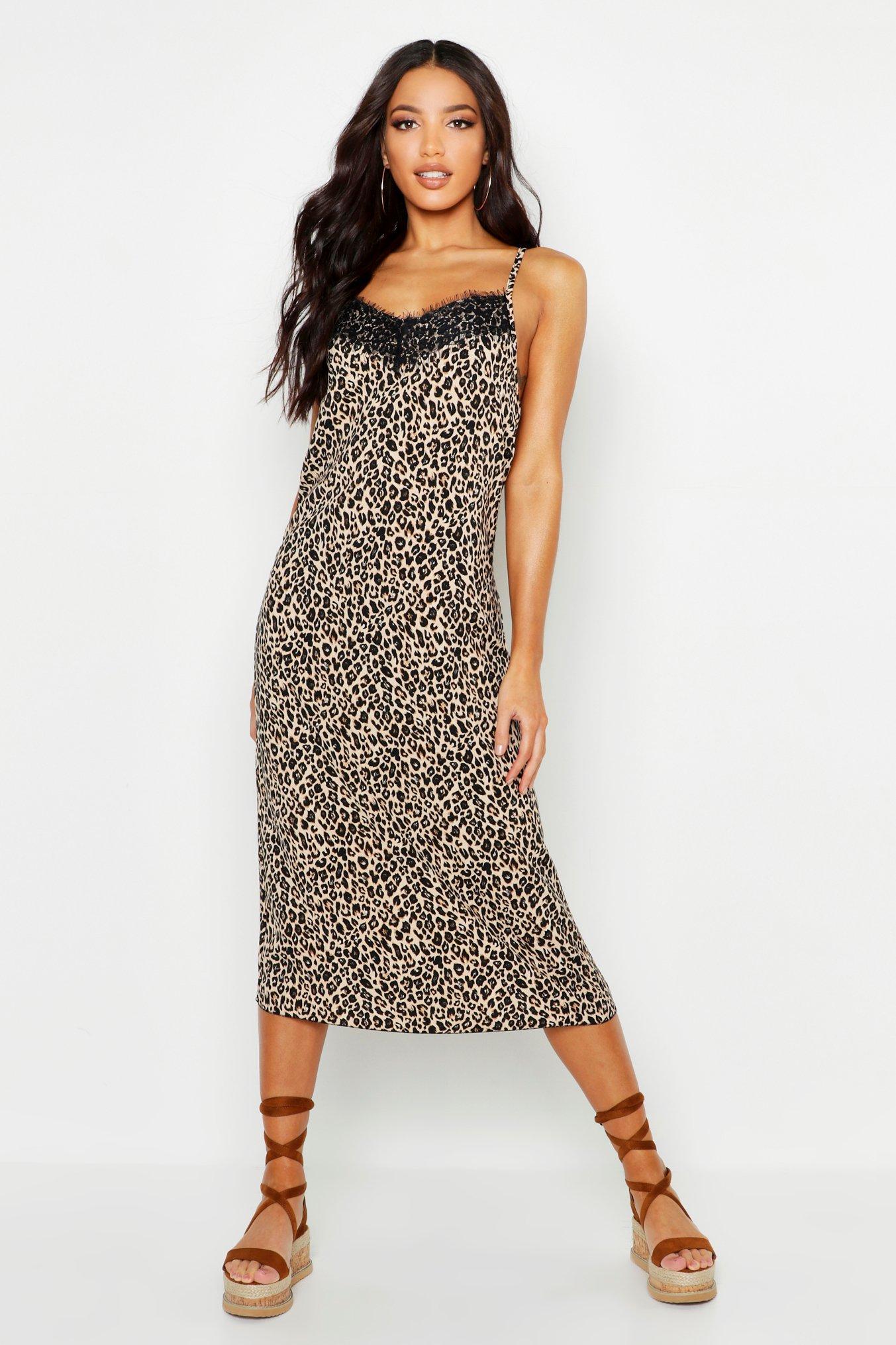 Woven Lace Leopard Slip Dress