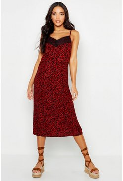 Womens Red Woven Lace Leopard Slip Dress