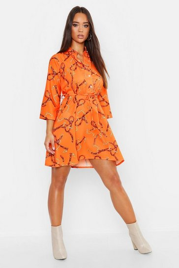 Womens Orange Woven Chain Print Belted Shirt Dress