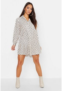 Womens Cream Woven Spot Shift Shirt Dress