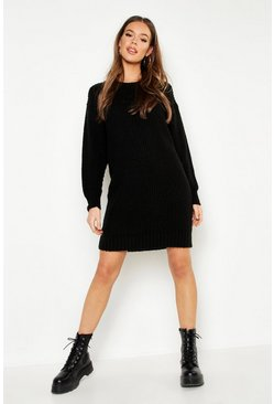 Womens Black Oversized Crew Neck Soft Knit Mini Dress