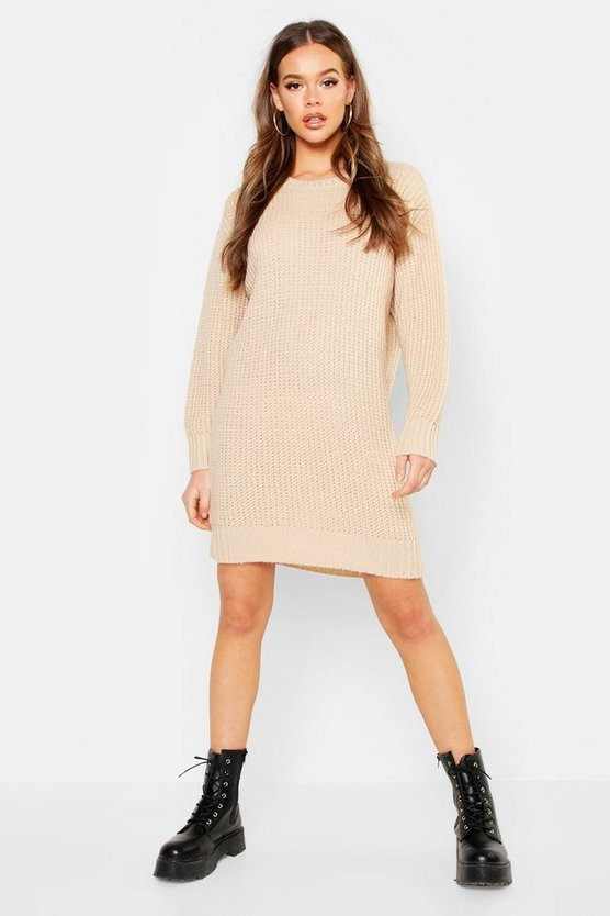Womens Stone Oversized Crew Neck Soft Knit Mini Dress