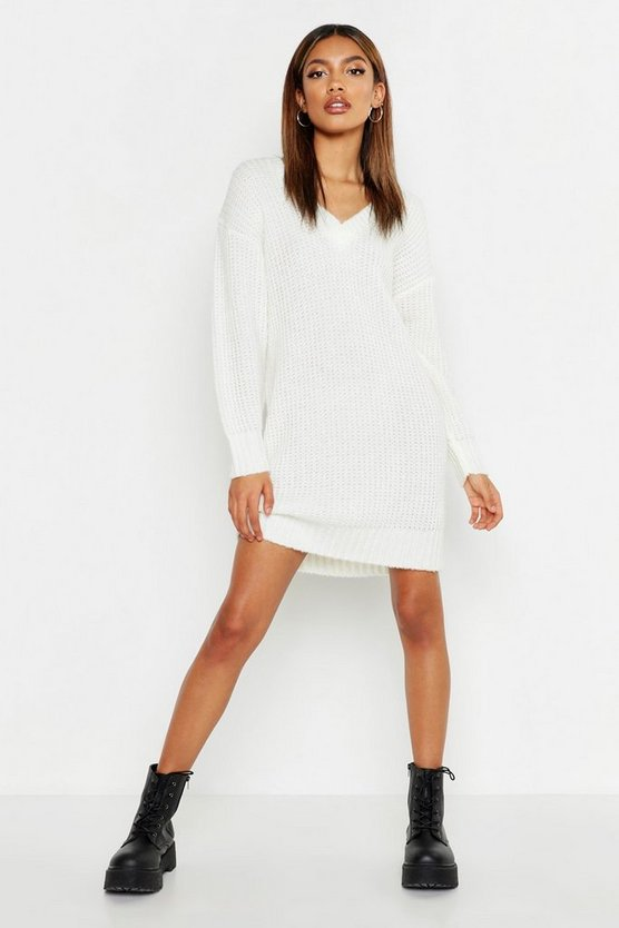 Womens Ivory Oversized V Neck Soft Knit Mini Dress