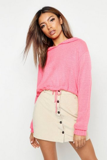 Womens Coral Ruched Hem Crop Hoody