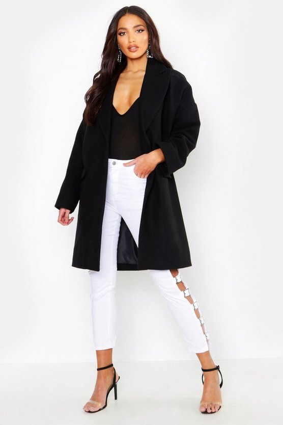 Womens Black Wool Look Boyfriend Coat