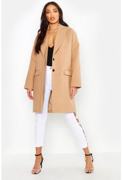 Camel Wool Look Boyfriend Coat