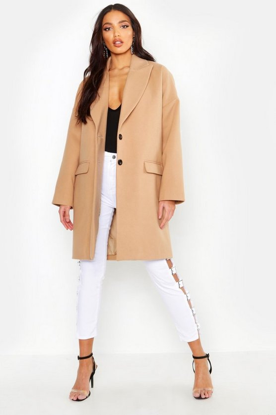 Womens Camel Wool Look Boyfriend Coat