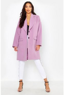Lilac Wool Look Boyfriend Coat