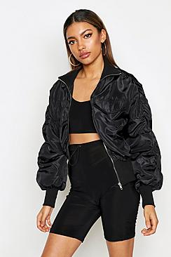 Ruched Sleeve Utility Bomber Jacket