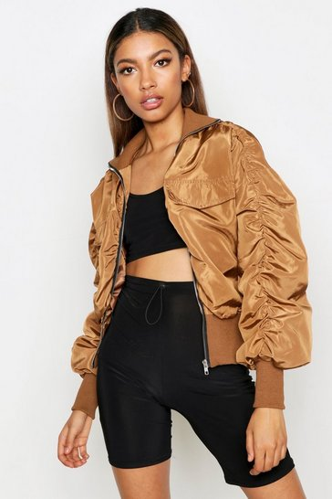 Womens Khaki Ruched Sleeve Utility Bomber Jacket