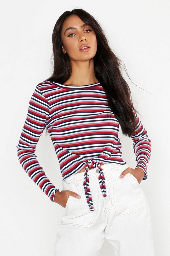 Rib Stripe Long Sleeve Top, Red, Donna