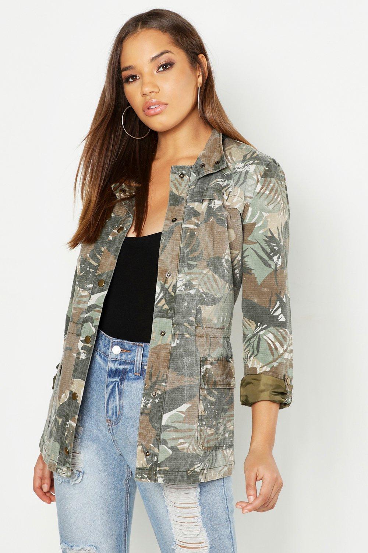 Palm Leaf Print Camo Utility Jacket